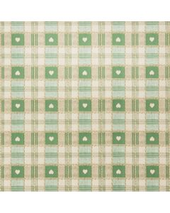 Green Heart Check PVC Vinyl Wipe Clean Tablecloth