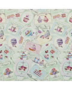Shabby Chic Duck Egg Patisserie PVC Vinyl Wipe Clean Tablecloth