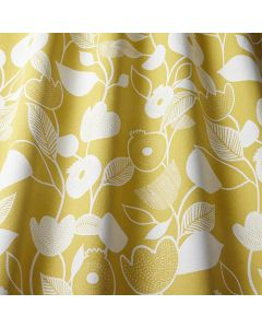 Nordic Ochre Yellow Scandi Floral Crafting Curtain and Upholstery Fabric