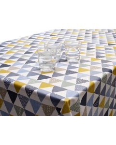 Sage Grey, Black & Yellow Scandic Wipe Clean Tablecloth