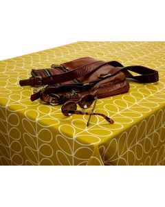 Orla Kiely Linear Stem Mustard Yellow Oilcloth Tablecloth Matte Finish