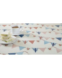 Multi-Colour Vintage Bunting Oilcloth Wipe Clean Tablecloth