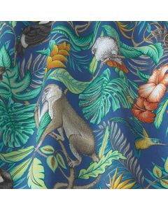 Blue Rainforest Marine Tropical Toucans and Monkeys 100% Cotton Curtain and Upholstery Fabric