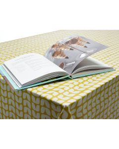 Retro Ochre Yellow Small Tulips Oilcloth Wipe Clean Tablecloth