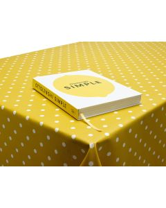 Dotty Mustard Yellow Matte Polka Dot Oilcloth Wipe Clean Tablecloth