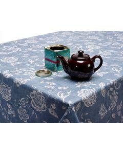 Denim Blue Bird Garden Floral Oilcloth Wipe Clean Tablecloth Matte Finish