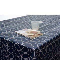 Orla Kiely Linear Stem Whale Deep Blue Oilcloth Tablecloth Matte Finish