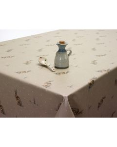 Rabbits / Hares Natural Beige Oilcloth Wipe Clean Tablecloth Matte Finish
