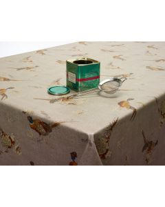 Taupe Pheasants Wipe Clean Tablecloth
