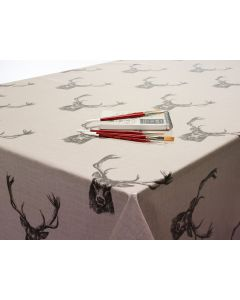 Stags Natural / Beige Heads Oilcloth Wipe Clean Tablecloth