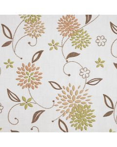 Taupe and Green Floral Elderflower PVC Vinyl Wipe Clean Tablecloth