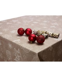 Taupe Beige Reindeers and Gingerbread Christmas PVC Vinyl Wipe Clean Tablecloth