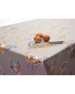 Taupe Chickens Rooster Oilcloth Tablecloth