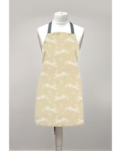 Taupe Hares Adult or Child Oilcloth Wipe Clean Apron Matte Finish