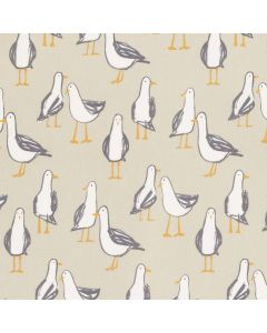 Taupe and White Seagulls Nautical 100% Cotton Curtain and Upholstery Fabric