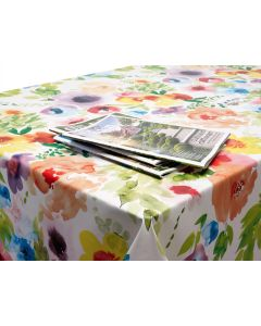 Green Pink and Yellow Watercolour Floral PVC Vinyl Wipe Clean Tablecloth