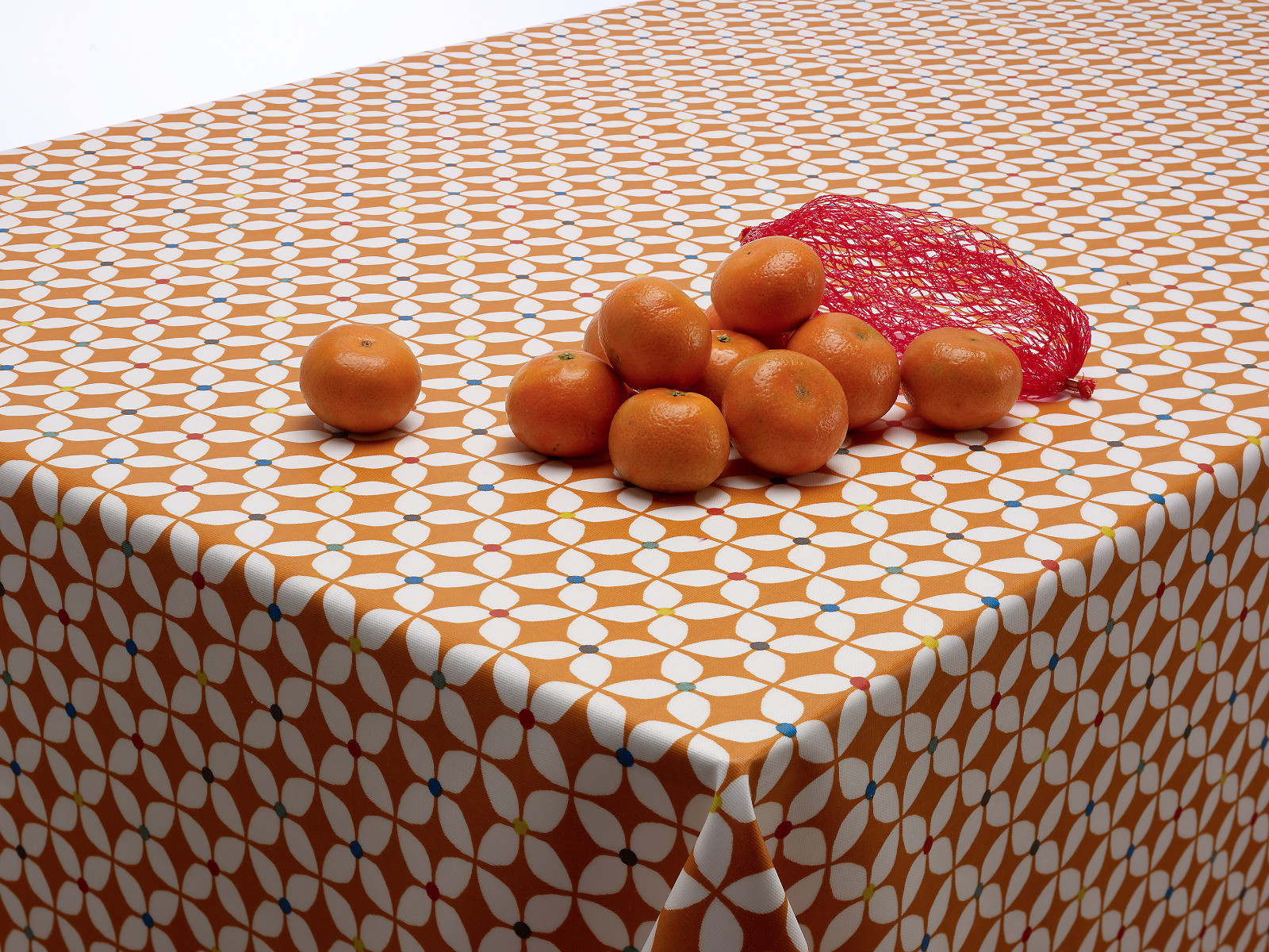 Burnt Orange Marguerite Floral Oilcloth