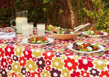 Anja Summer Floral Oilcloth Tablecloth